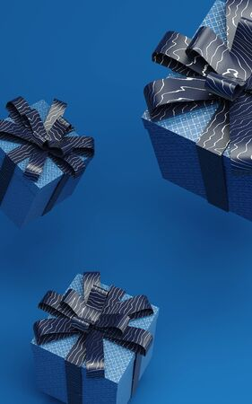 Classic blue present boxes levitating in air 3d rendering illustration with pattern ribbon. Trendy color of 2020