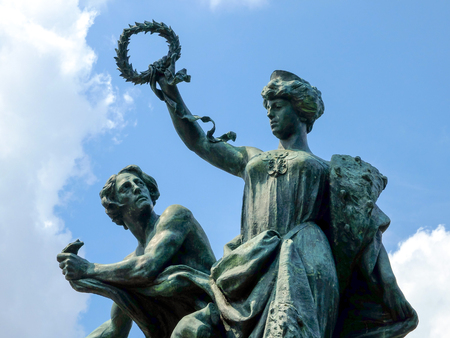 the arts is ancient: Ancient statues irony in Turin, Italian arts Stock Photo