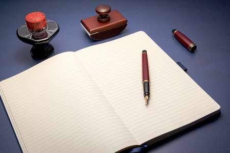 absorbent: Writing set with diary, fountain pen, ink bottle and absorbent tampon Stock Photo