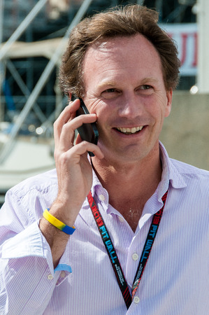 s horn: Chris Horner, boss manager of Infiniti Red Bull Renault Formula One team, portrait in the paddock while calling Editorial