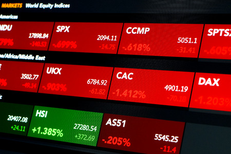 indexes: Lcd tablet monitor shows colored tags reporting prices and performance for major equity indexes, financial and economic data for trading and brokers