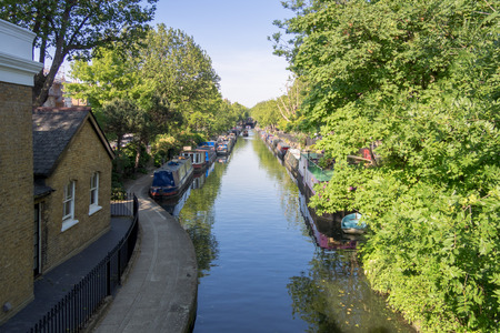 parade of homes: Houseboats on the canal banks at Little Venice, London