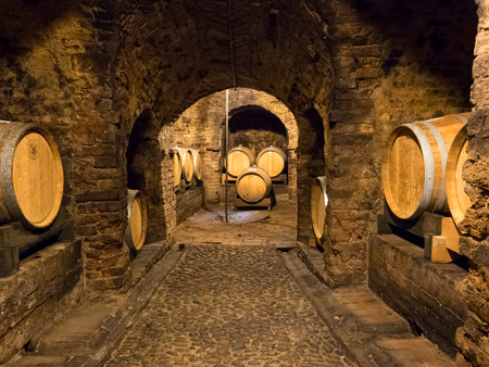 wine grower: Several wooden wine barrels stocked in an ancient medieval cellar located in Neive, town in Langhe region Stock Photo