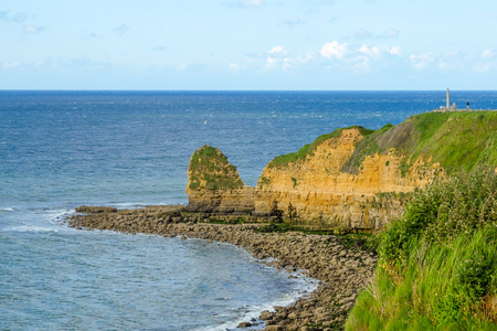 hoc: Pointe du Hoc, coast in Normandy site of allied invasion during D-day of World War II, monument to Rangers. Stock Photo