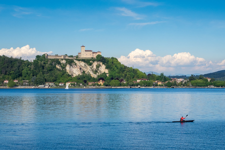 Wonderful view of Castle and Rocca of Angera in front of Arona, on Maggiore Lake, Lombardy, Italy.