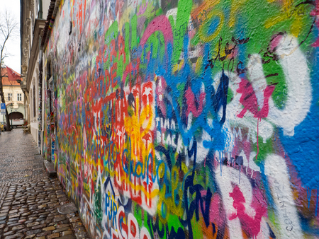 John Lennon tribute wall in a Prague street during winter 写真素材