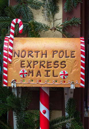 North Pole Express Mail, mailbox for wish letters to Santa Klaus, Christmas concept