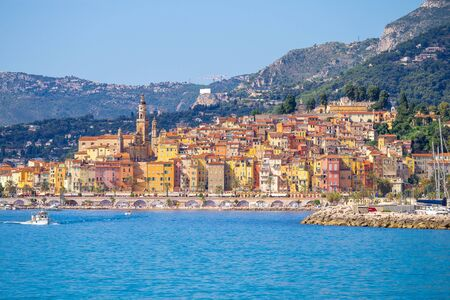 Sunny view of old town of Menton, in French Riviera of Cote dazur, Southern France