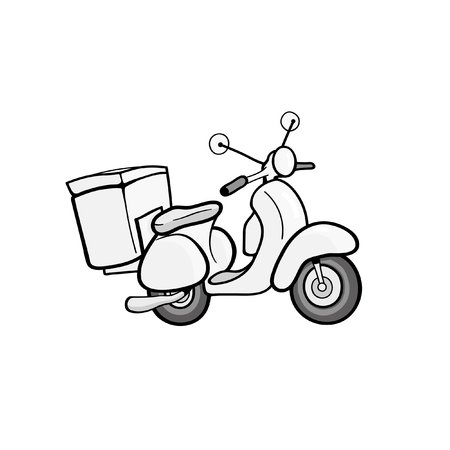 Motor met levering geïsoleerd op een witte achtergrond. Vectorillustratie van motor Vector Illustratie