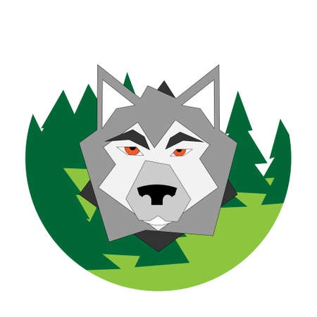 Flat logo of a wolf on green forest framed in a circle.