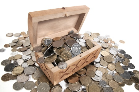 The box with coins on isolated background photo