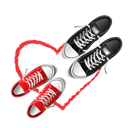 photo-realistic sports shoes illustration, red and black sneakers isolated on white Illustration