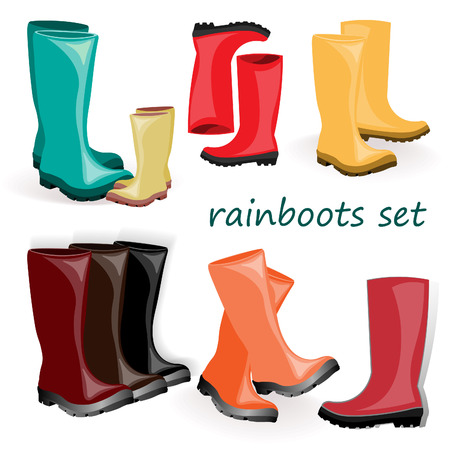 rainboots: set of water resistant shoes, colorful rubber wellington boots  isolated on white