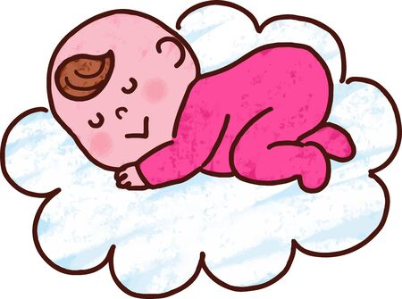 Baby resting on clouds with main line
