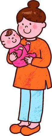 Mama hält ein Baby mit Hauptleine Vektorgrafik