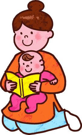 Mommy read picture books to baby with main line