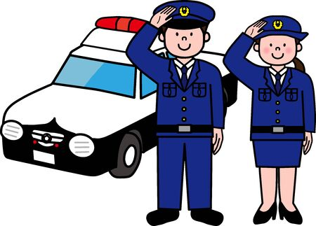 Police officer and policewoman and police car