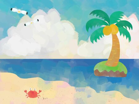 Sea, crabs and palm trees Illustrations