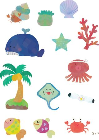 A variety of living things in the sea Illustrations Illusztráció
