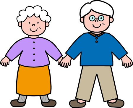 Old couple holding hands illustration