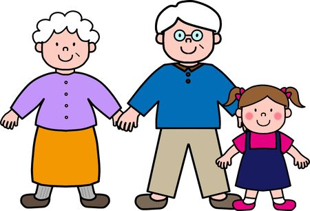 Old couple holding hands and granddaughter 矢量图像