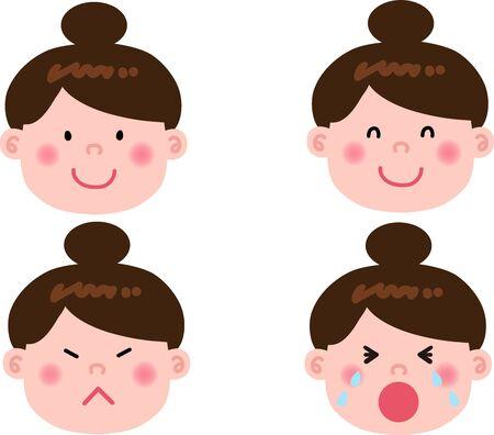 Female expression set illustration Ilustrace