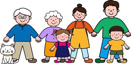 Three-generation family and Nyanko
