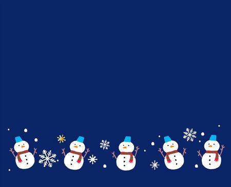 Snowman and snowflake frame illustration Ilustrace