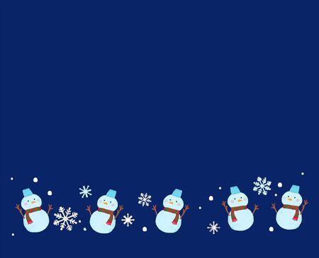 Crayon style snowman frame illustration