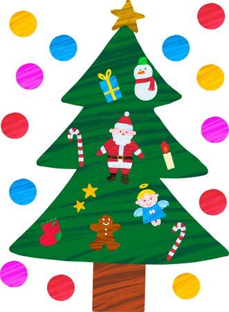 Christmas tree with various decorations illustration