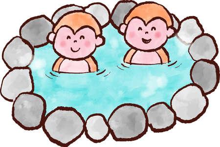 2 monkeys in a hot spring