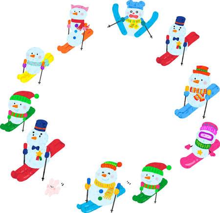 snowmen wintersports round frame