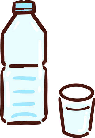 PET bottle and a glass of water