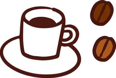 Coffee and coffee beans  イラスト・ベクター素材