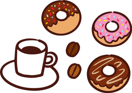 Coffee and coffee beans and donuts  イラスト・ベクター素材
