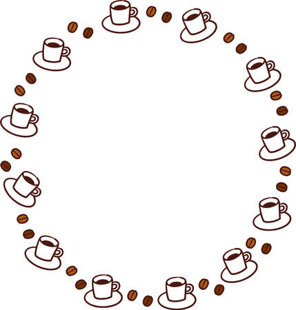 Coffee and coffee beans round frame