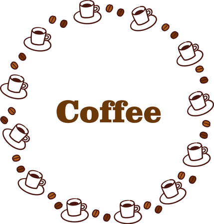 Coffee and coffee beans round frame with text  イラスト・ベクター素材