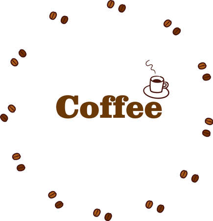 Coffee beans round frame with text