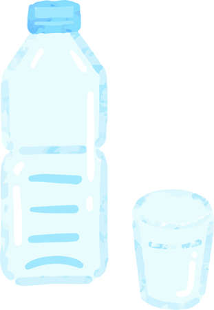 Plastic bottle and a glass of water