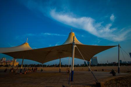 dark skies: View of tent in Shandong Yantai beach