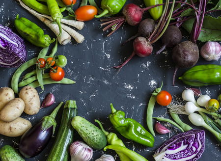 Food background. Assortment of fresh garden vegetables. Top view, free space for text
