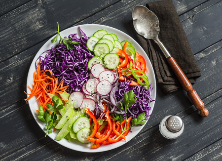 Fresh vegetable salad with red cabbage, cucumber, radish, carrots, sweet peppers, red onion and parsley on a white plate.  On wooden rustic background