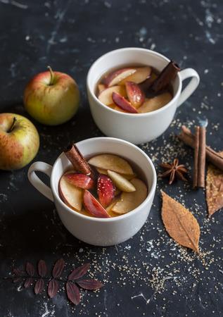 Maple apple hot cider. On a dark background.