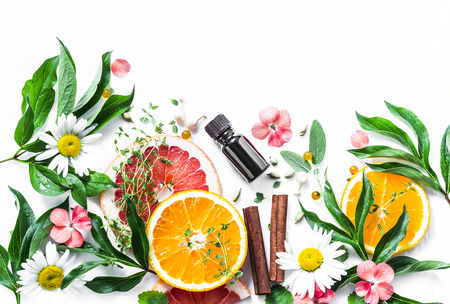 Essential oil for beauty skin. Flat lay beauty ingredients on a light background, top view. Beauty healthy lifestyle concept. Copy space Stock Photo