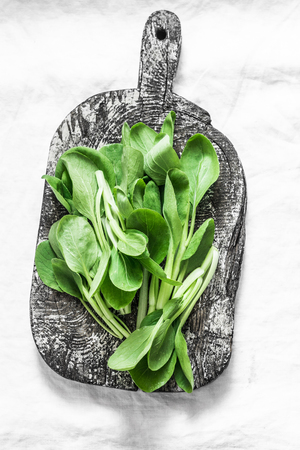 Baby Bok Choy cabbage on rustic wood cutting board on light background. Healthy food ingredient Stock Photo