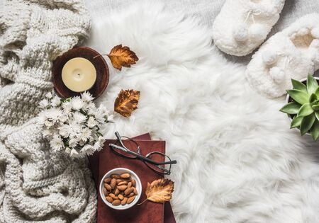 Cozy home interior in scandinavian style - stack of books, almond nuts, knitted plaid, succulentus flower, candle, chrysanthemum bouquet, fur carpet, soft Slippers, on a light background, top view 스톡 콘텐츠