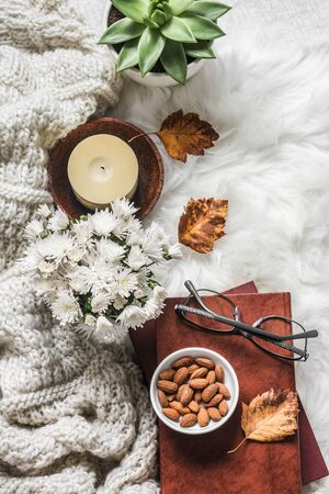 Cozy home interior - stack of books, knitted plaid, candle, chrysanthemum bouquet, fur carpet, soft slippers, on a light background, top view. Copy space 스톡 콘텐츠