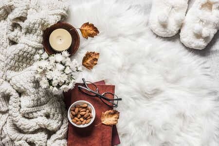 Cozy home interior - stack of books, almond nuts, knitted plaid, candle, chrysanthemum bouquet, fur carpet, soft slippers on a light background, top view