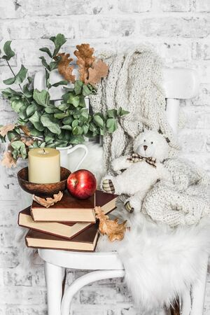 Home cozy still life - an old vintage chair, stack of books, knitted plaid, candle, apple fruit, teddy bear. Hobby, leisure, comfort concept. Flat lay Standard-Bild - 134140064