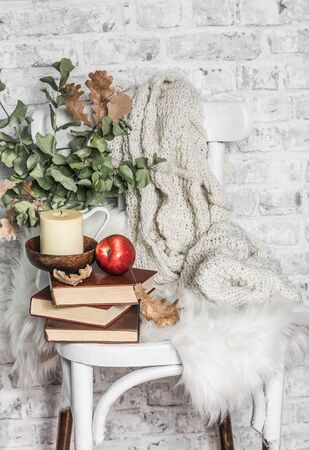Home cozy still life - an old vintage chair, stack of books, knitted plaid, candle, apple fruit. Hobby, leisure, comfort concept. Flat lay Standard-Bild - 134140101